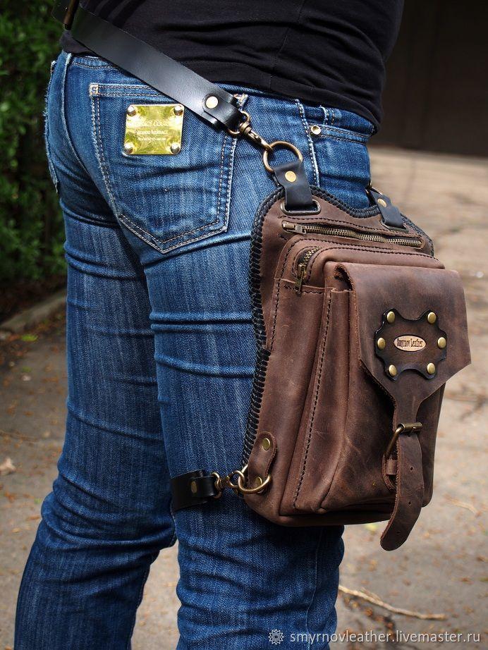 Кожаная набедренная сумка коричневая с тесьмой, Мужские сумки, Одесса, Фото №1