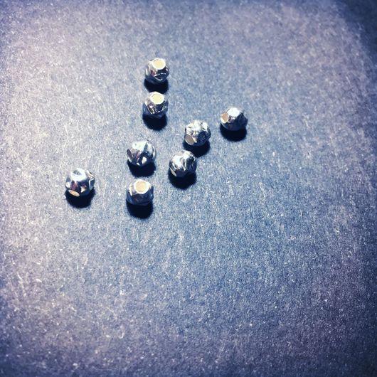 """Для украшений ручной работы. Ярмарка Мастеров - ручная работа. Купить Бусина круглая """"битая"""" 4мм, серебро 925 проба. Handmade."""