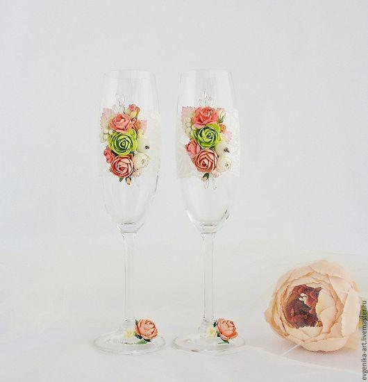 """Свадебные аксессуары ручной работы. Ярмарка Мастеров - ручная работа. Купить Свадебные бокалы """"Эльза"""". Handmade. Комбинированный, бокалы с цветами"""