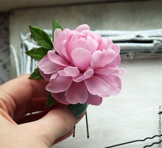 Заколки ручной работы. Ярмарка Мастеров - ручная работа. Купить Комплект шпилек Розовый пион. Handmade. Бледно-розовый