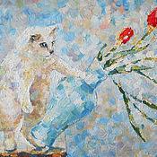 Картины и панно ручной работы. Ярмарка Мастеров - ручная работа Картина Ой! Белый кот и красные тюльпаны.... Handmade.