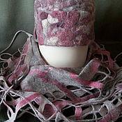 """Аксессуары ручной работы. Ярмарка Мастеров - ручная работа Комплект """" Камешки"""" ушанки и шарф, войлок. Handmade."""