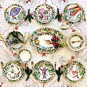 Посуда handmade. Livemaster - original item Painted porcelain 6 Nutcracker Christmas set. Handmade.