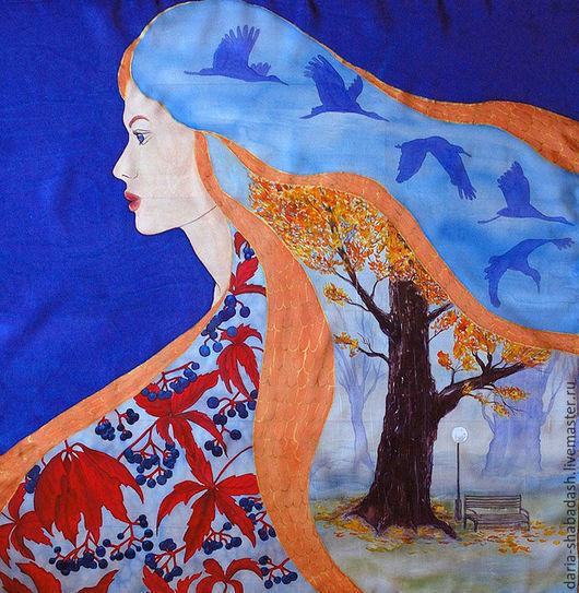 Шали, палантины ручной работы. Ярмарка Мастеров - ручная работа. Купить Шелковый платок Осень. Handmade. Разноцветный, роспись по шелку
