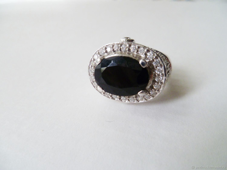 Серебряное кольцо с черным агатом Королева ночи, Кольца, Москва, Фото №1