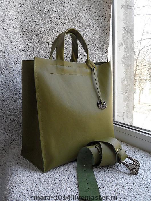 Женские сумки ручной работы. Ярмарка Мастеров - ручная работа. Купить APPLE. Handmade. Оливковый, сумка кожаная, кожа натуральная