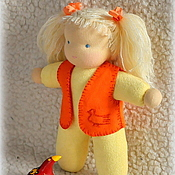 Куклы и игрушки ручной работы. Ярмарка Мастеров - ручная работа Вальдорфская куколка в пришивной одежке 20-22 см. Handmade.