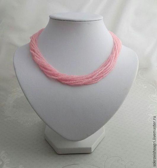Колье, бусы ручной работы. Ярмарка Мастеров - ручная работа. Купить Колье из розового кварца и серебра 925. Handmade.