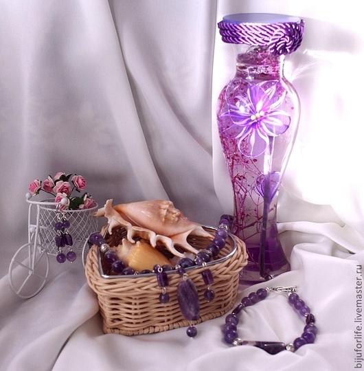 """Колье, бусы ручной работы. Ярмарка Мастеров - ручная работа. Купить """"Аметистовое небо"""" Колье и браслет. Handmade. Колье, фиолетовый"""