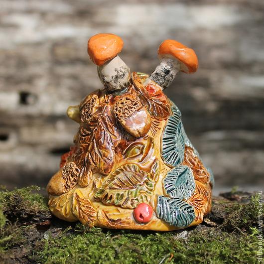 """Колокольчики ручной работы. Ярмарка Мастеров - ручная работа. Купить Колокольчик керамический """"Грибная осень"""". Handmade. Рыжий, колокольчики керамические"""