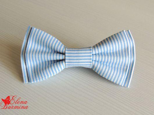 Галстуки, бабочки ручной работы. Ярмарка Мастеров - ручная работа. Купить Бабочка галстук голубая полосатая, хлопок. Handmade. Голубой