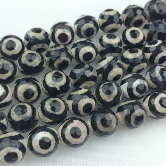 Для украшений ручной работы. Ярмарка Мастеров - ручная работа. Купить Агат Дзи черный (глаз) 10 мм. Handmade.