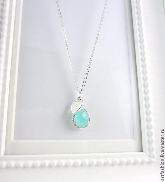 Кулон серебряный от Марии Гербст Мятное сердце. Кулон из серебра на цепочке Мятное сердце. Серебряный кулон Мятное сердце с мятным кварцем.