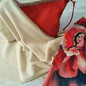 Аксессуары handmade. Livemaster - original item Champagne scarf made of 100% cashmere Cariaggi. Handmade.