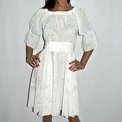 Одежда ручной работы. Ярмарка Мастеров - ручная работа пляжное белое платье из шифона. Handmade.
