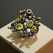 Украшения handmade. Livemaster - original item Ring Peridot, Sapphire, silver ring. Handmade.