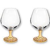 Посуда handmade. Livemaster - original item Gold-plated set of Vip cognac glasses.Beautiful Case!. Handmade.