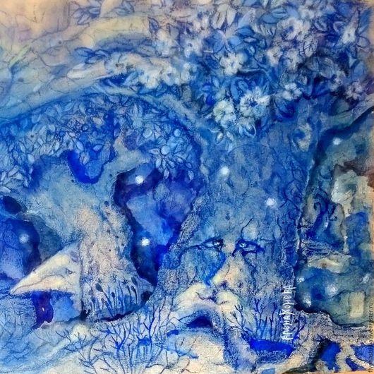 Картина фэнтези Духи сказочного леса. Выполена на батик бумаге в уникальной авторской  смешанной технике (акварель и пастель). сказка в теплоте рук Алёны Коневой