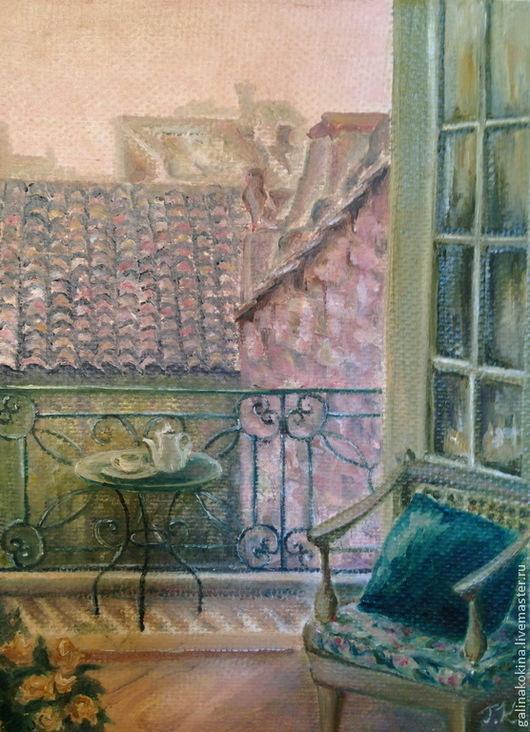 Картина В розовой дымке, холст на подрамнике, масло, 18х24см. Картина оформлена в деревянную раму (см. др. фото)