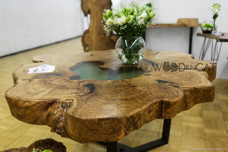 Мебель ручной работы. Ярмарка Мастеров - ручная работа. Купить Обеденный стол из трехсотлетнего спила Каштана / WOODenCAT. Handmade.