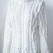 Свитеры ручной работы. Ярмарка Мастеров - ручная работа Белый вязаный свитер. Handmade.