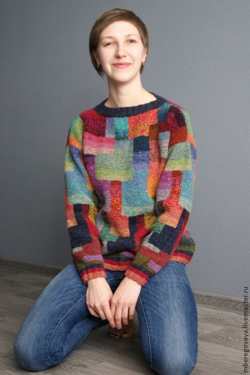 """Кофты и свитера ручной работы. Ярмарка Мастеров - ручная работа. Купить Пуловер """"Прогулка на холм Монмартр"""". Handmade. Разноцветный"""