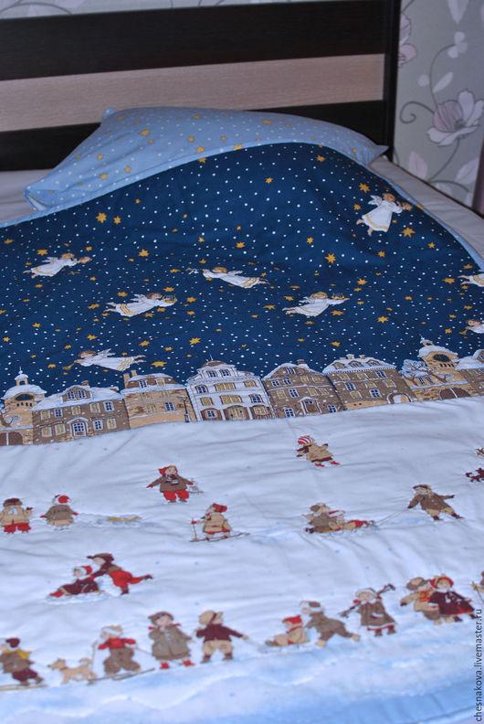 """Пледы и одеяла ручной работы. Ярмарка Мастеров - ручная работа. Купить Детское одеяло """"Рождество"""". Handmade. Тёмно-синий"""