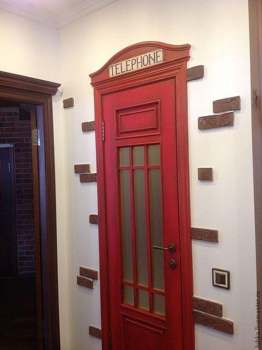 Декор поверхностей ручной работы. Ярмарка Мастеров - ручная работа. Купить роспись двери Телефонная будка. Handmade. Ярко-красный