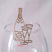 """Клеи ручной работы. Ярмарка Мастеров - ручная работа Контурные наклейки """"Шампанское"""" Н49. Handmade."""