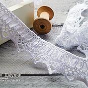 Материалы для творчества handmade. Livemaster - original item Lace knitted cotton with satin ribbon, color white. Handmade.