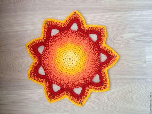 """Текстиль, ковры ручной работы. Ярмарка Мастеров - ручная работа. Купить Ковер """"Солнце"""" прикроватный. Handmade. Комбинированный, оранжевый, настроение"""