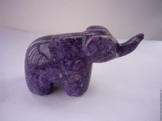 Статуэтки ручной работы. Ярмарка Мастеров - ручная работа. Купить Фигурка Слон из чароита. Handmade. Слон из камня, фигурка слона