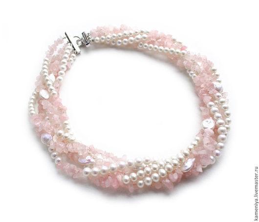 Колье, бусы ручной работы. Ярмарка Мастеров - ручная работа. Купить Ожерелье из розового кварца и жемчуга НЕЖНЫЕ ЧУВСТВА. Handmade.