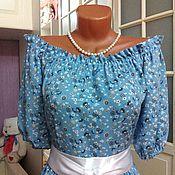 Одежда ручной работы. Ярмарка Мастеров - ручная работа Штапельное платье в пол Незабудки. Handmade.