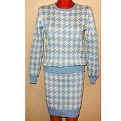 Одежда ручной работы. Ярмарка Мастеров - ручная работа Костюм вязаный Гусиная лапка(юбка и свитер). Handmade.