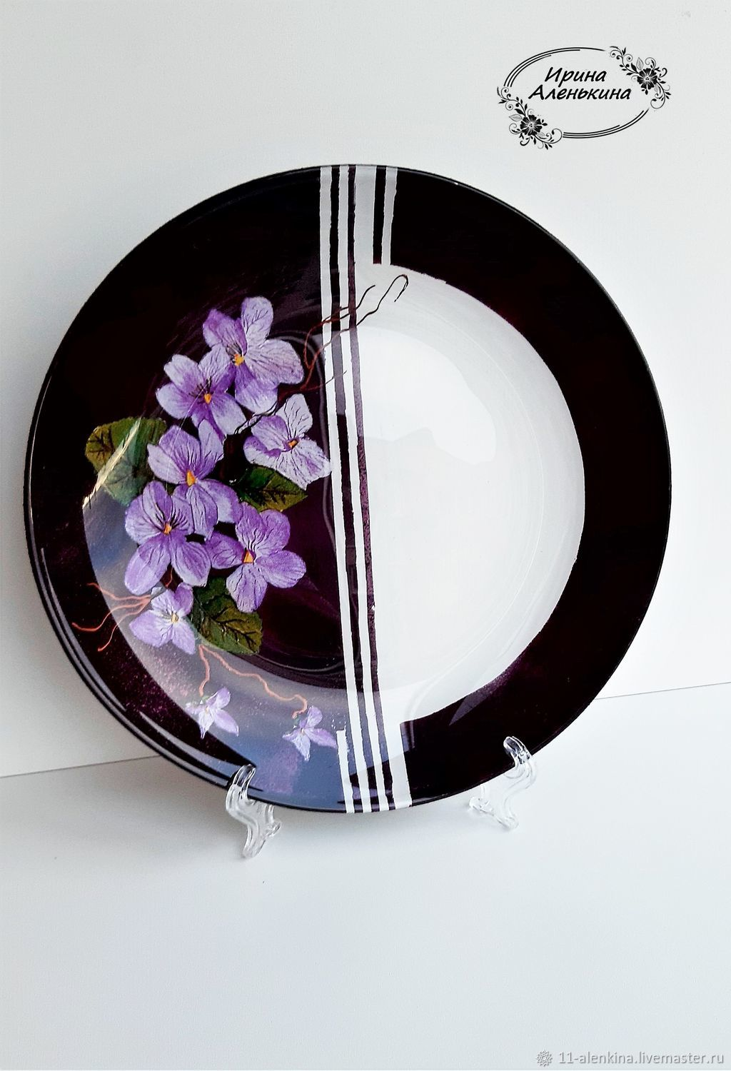 interior plate ' violets', Stained glass, St. Petersburg,  Фото №1