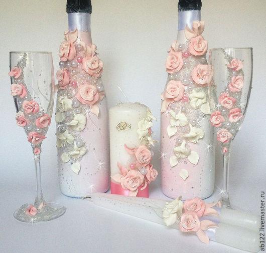 Свадебные аксессуары ручной работы. Ярмарка Мастеров - ручная работа. Купить Розово-белый свадебный набор. Handmade. Бледно-розовый