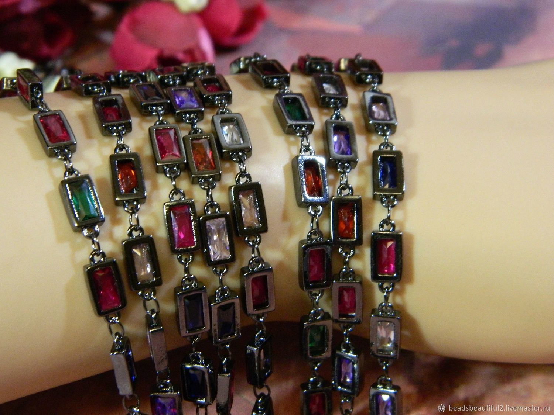 Chain with cubic Zirconia black rhodium 8h5 mm South Korea. 10 cm, Blanks for jewelry, Saratov,  Фото №1
