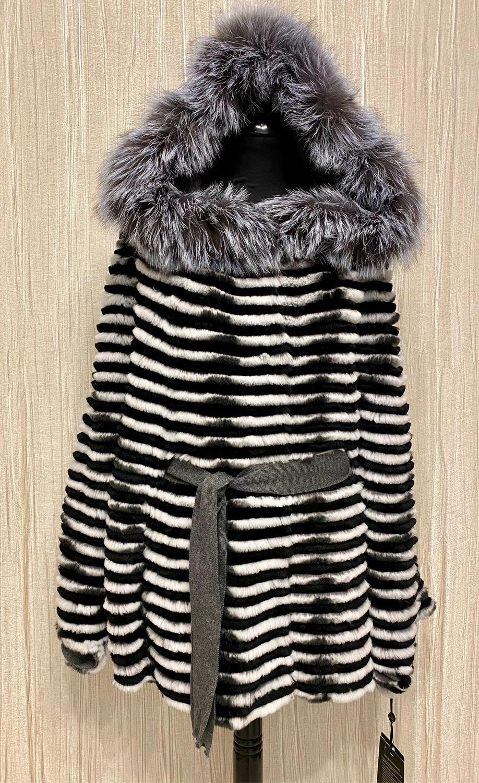 Куртка из шиншиллового кролика с капюшоном, Куртки, Москва,  Фото №1