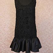 Одежда ручной работы. Ярмарка Мастеров - ручная работа Черное платье с воланом Сьюзан. Handmade.