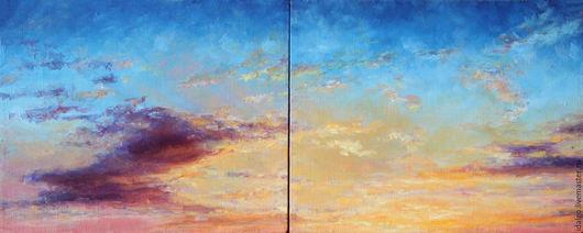 """Пейзаж ручной работы. Ярмарка Мастеров - ручная работа. Купить Диптих """"Закат"""". Handmade. Картина маслом, облака, море"""