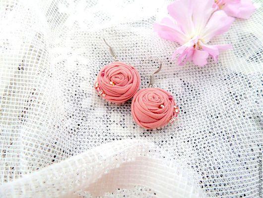 """Комплекты украшений ручной работы. Ярмарка Мастеров - ручная работа. Купить Комлект, серьги, кольцо цветок """"Розовая пудра"""". Handmade."""