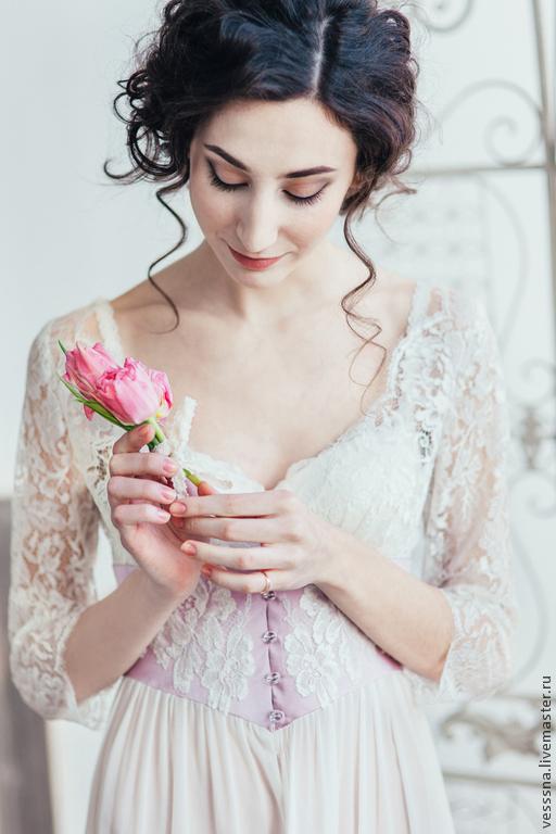 """Платья ручной работы. Ярмарка Мастеров - ручная работа. Купить Будуарное платье """"Сирень"""". Handmade. Свадебное платье, утро невесты"""