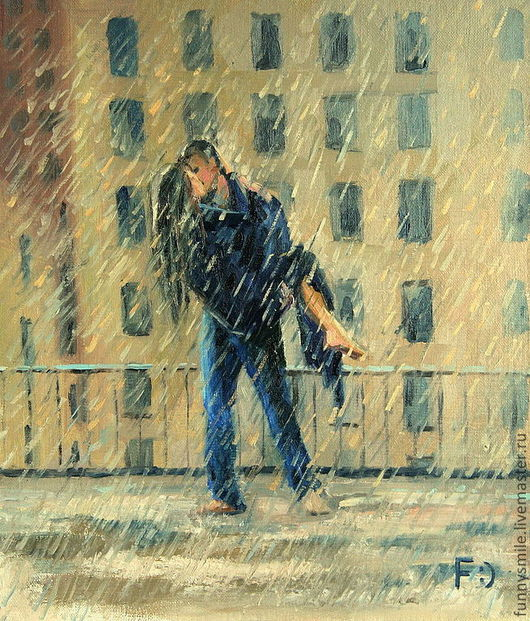 Люди, ручной работы. Ярмарка Мастеров - ручная работа. Купить Картина маслом на холсте. Поцелуй под дождем.. Handmade. Любовь