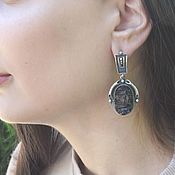 Украшения handmade. Livemaster - original item Earrings with untreated obsidian in 925 silver ALS0018. Handmade.