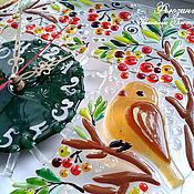 """Часы """"Птички на рябинке"""" из стекла. Фьюзинг"""