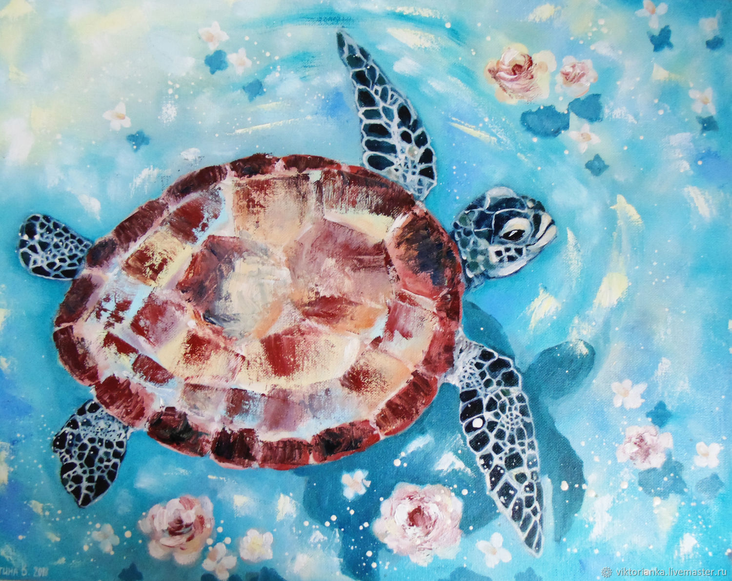 Hawaii oil Painting sea turtle, Pictures, Moscow,  Фото №1