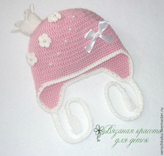 корона, принцесса, купить шапку, купить шапочку, шапка, шапочка, вязаная шапочка для девочки, вязаный комплект для девочки, розовый, вязаная шапочка,для девочки, красивая шапочка, розовая шапочка