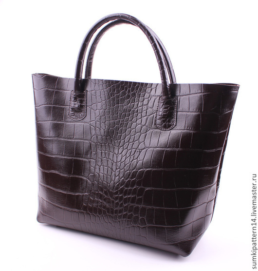 Коричневая сумка Luigi Pattern из натуральной фактурной кожи.