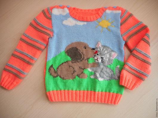 """Одежда унисекс ручной работы. Ярмарка Мастеров - ручная работа. Купить Вязаный свитер """"Лучшие друзья"""". Handmade. Комбинированный, джемпер"""